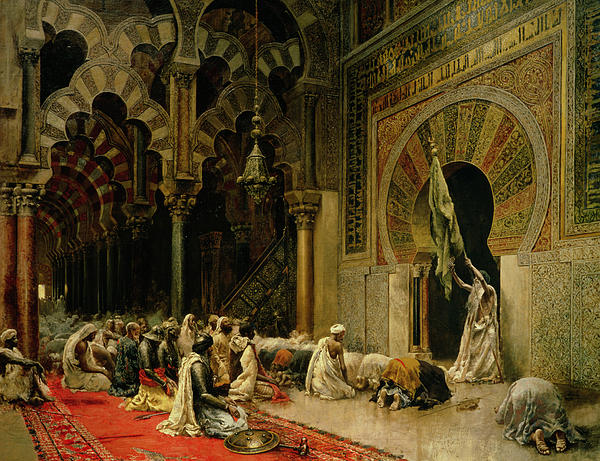 Interior Of The Mosque At Cordoba Print by Edwin Lord Weeks