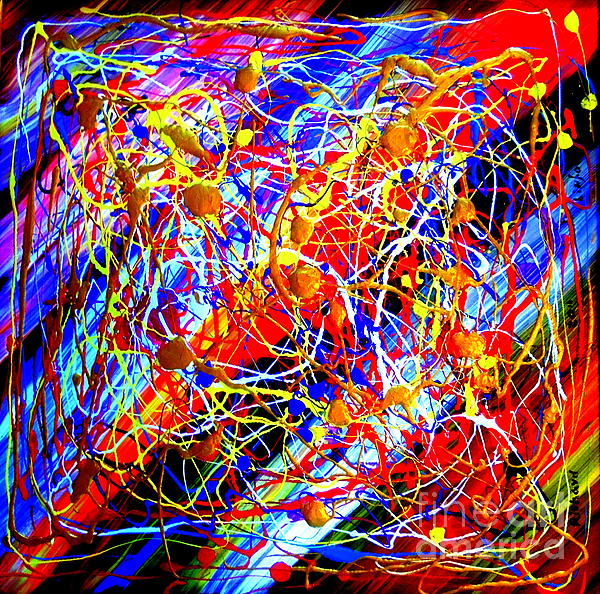 Internet 3 Tron Virtuosity Matrix Digital World Neural Network Connection Print by Richard W Linford