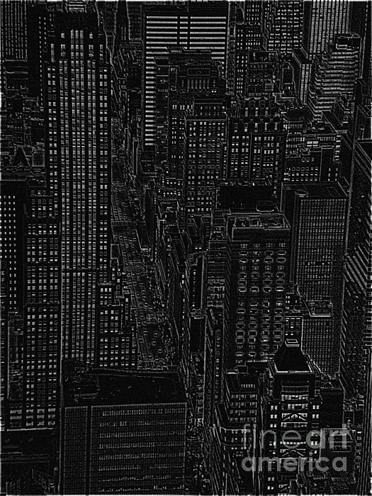 Into Nyc White On Black Print by Meandering Photography