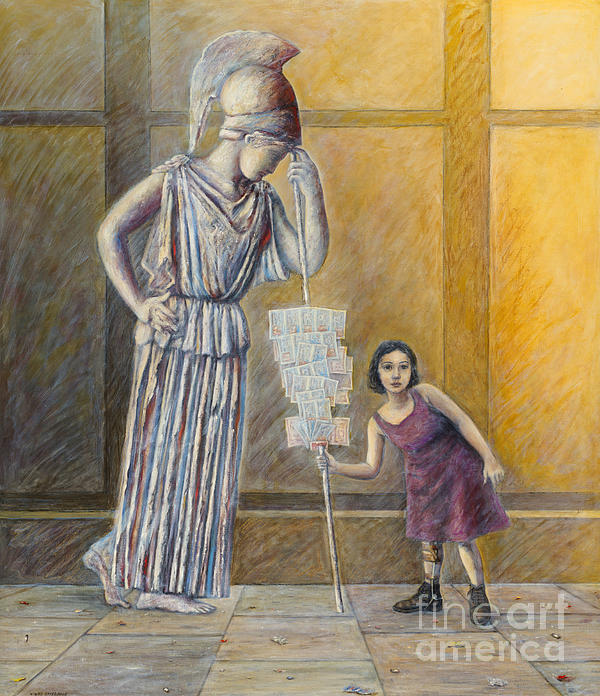Invalid Greek Girl Selling Lottery Tickets Print by Nikos Smyrnios