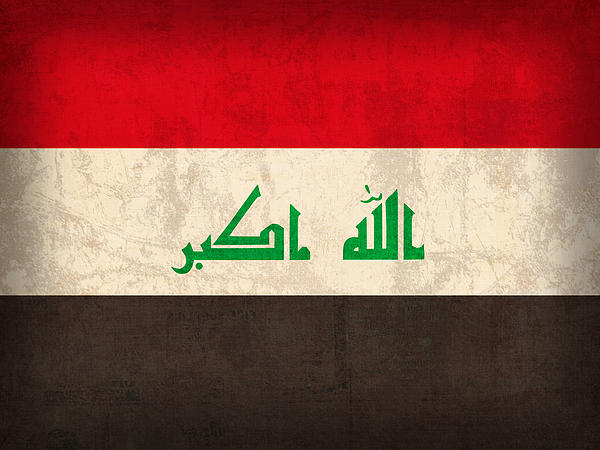 Iraq Flag Vintage Distressed Finish Print by Design Turnpike