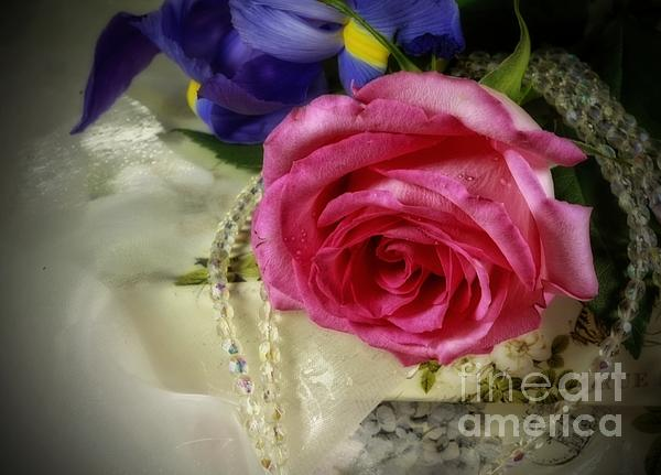 Iris And Rose On Vintage Treasure Box Print by Inspired Nature Photography By Shelley Myke