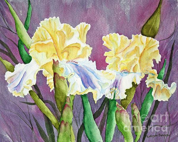 Iris Cream Duo Print by Kathryn Duncan