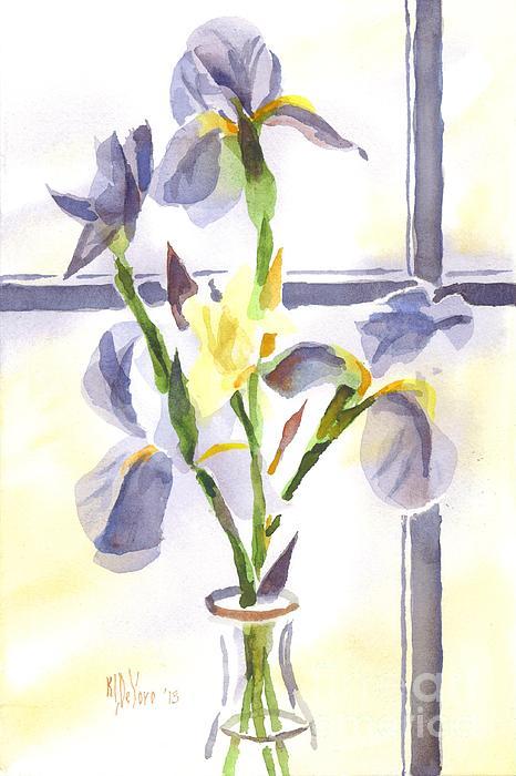 Irises In The Window II Print by Kip DeVore