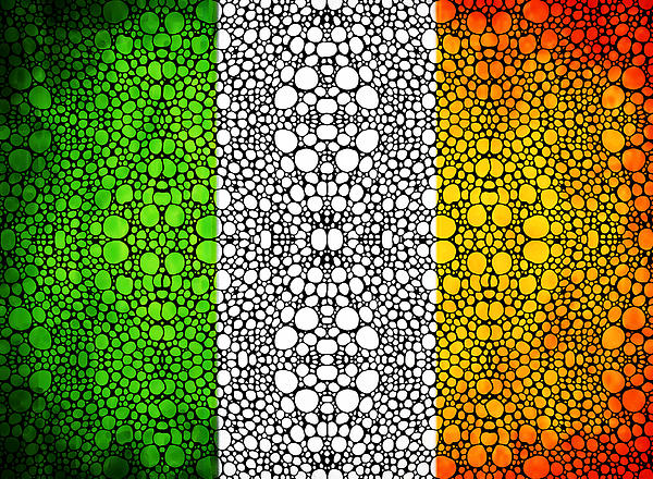 Irish Flag - Ireland Stone Rock'd Art By Sharon Cummings Print by Sharon Cummings