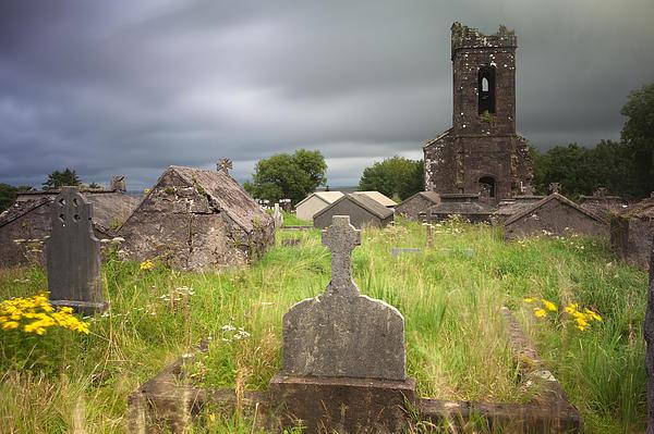 Irish Graveyard Cemetary Dark Clouds Print by Dirk Ercken