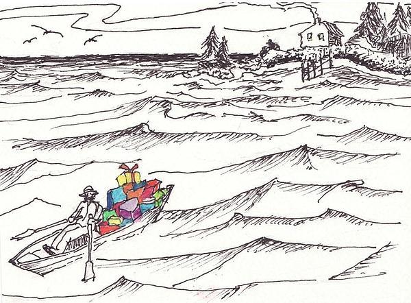 Island Christmas In Coastal Maine Print by Robert Parsons