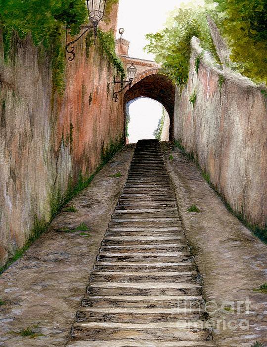 Nan Wright - Italian Walkway steps to a tunnel