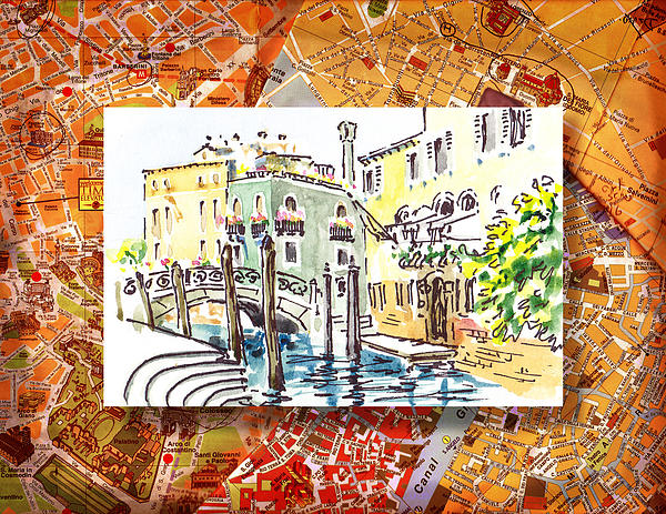 Italy Sketches Venice Canale Print by Irina Sztukowski