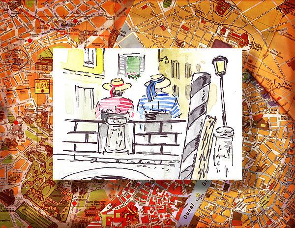 Italy Sketches Venice Two Gondoliers Print by Irina Sztukowski