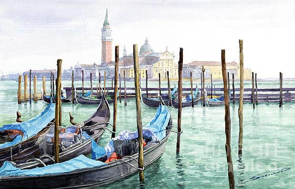 Italy Venice Gondolas Parked Print by Yuriy Shevchuk