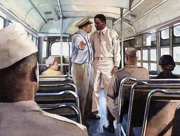 Jackie Robinson Boarding An Army Bus Print by Rob Wood