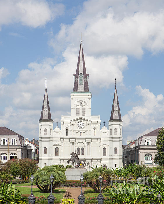 Jackson Square Cathedral Print by Kay Pickens