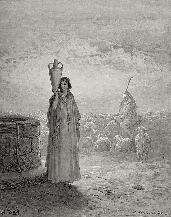 Jacob Keeping Laban's Flock Print by Gustave Dore