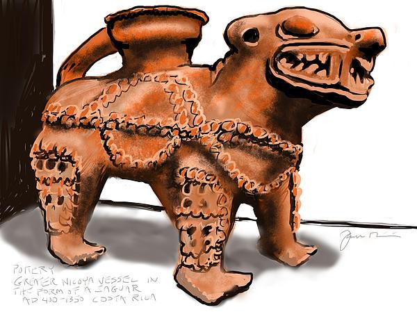 Jaguar Pottery Print by Jean Pacheco Ravinski