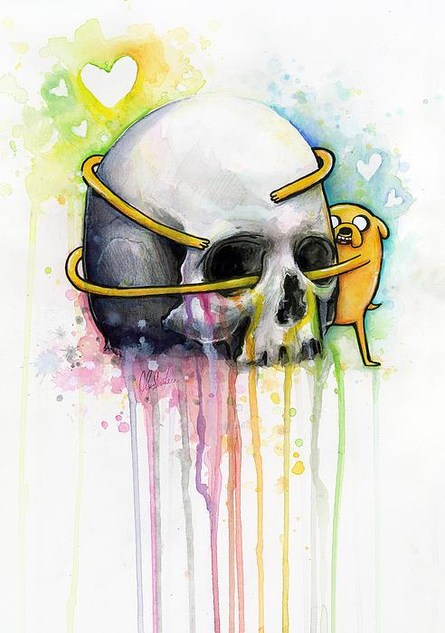 Jake The Dog Hugging Skull Adventure Time Art Print by Olga Shvartsur