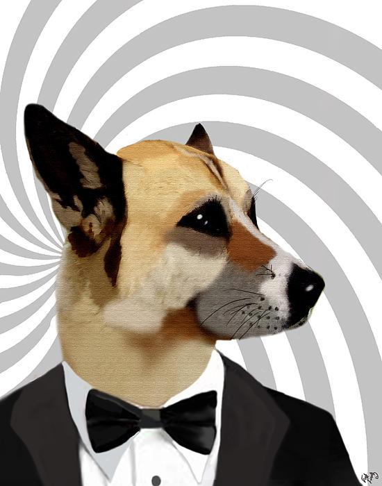 James Bond Dog Print by Kelly McLaughlan