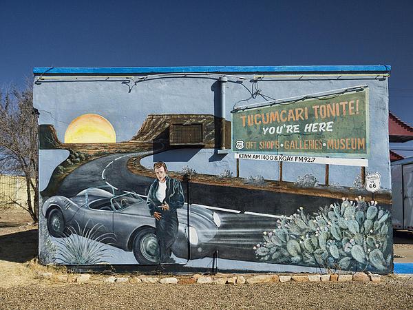 James Dean Mural In Tucumcari On Route 66 Print by Carol Leigh
