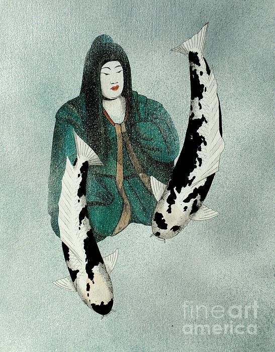 Japanese Empress Shinko Utsuri Mono Painting Print by Gordon Lavender