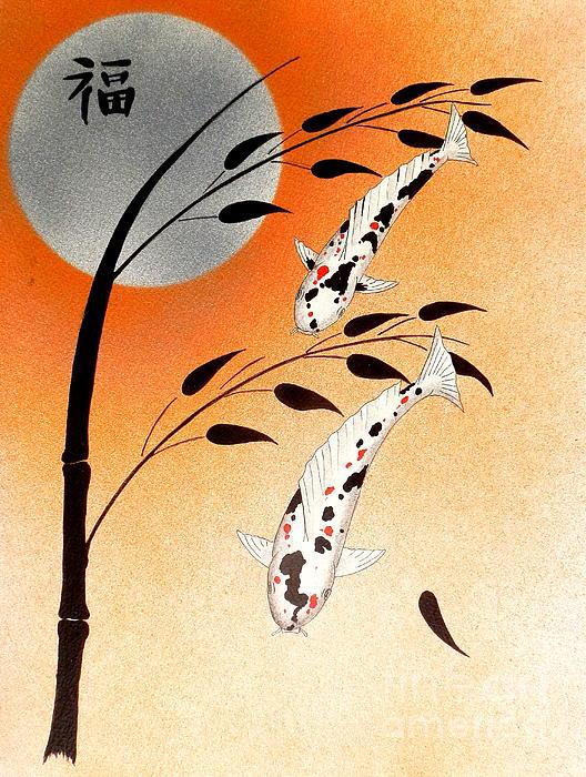Japanese Koi Sanke Good Fortune Print by Gordon Lavender