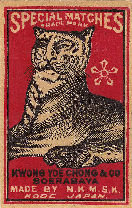 Japanese Matchbox Label With Tiger Print by Nop Briex