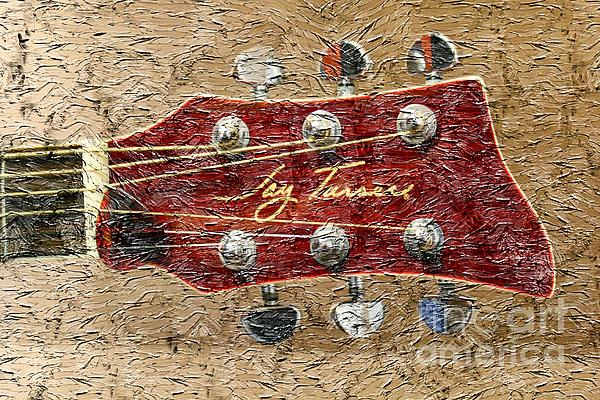 Jay Turser Guitar Head - Red Guitar - Digital Painting Print by Barbara Griffin
