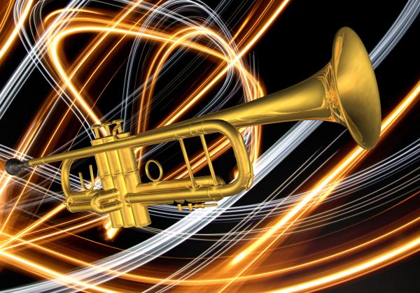 Jazz Art Trumpet Print by Louis Ferreira
