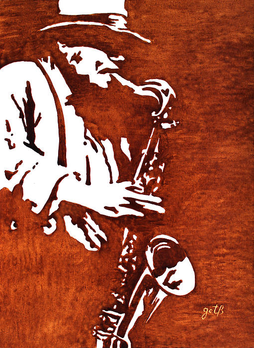 Jazz Saxofon Player Coffee Painting Print by Georgeta  Blanaru