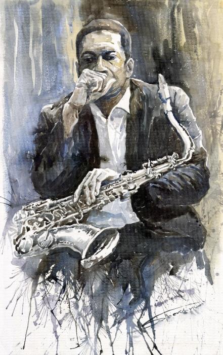 Jazz Saxophonist John Coltrane Yellow Print by Yuriy  Shevchuk