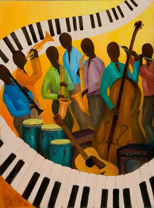 Jazz Septet Print by Larry Martin