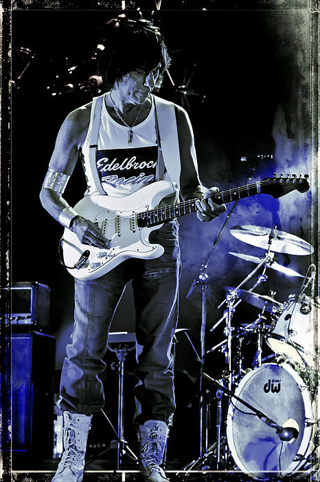 Jeff Beck On Guitar 8 Print by The  Vault - Jennifer Rondinelli Reilly