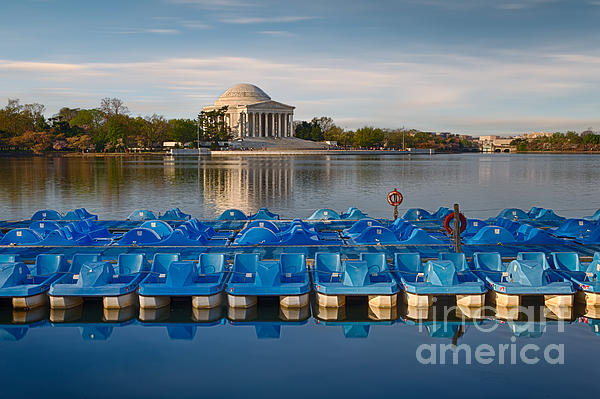 Jefferson Memorial And Paddle Boats Print by Jerry Fornarotto