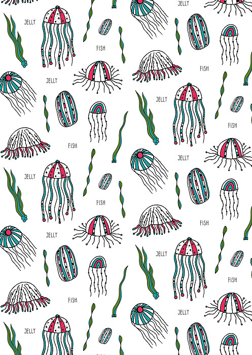 Jellyfish Repeat Print Print by Susan Claire