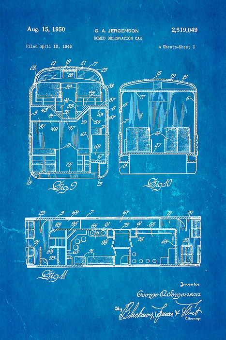 Jergenson Domed Observation Car Patent Art 1950 Blueprint Print by Ian Monk