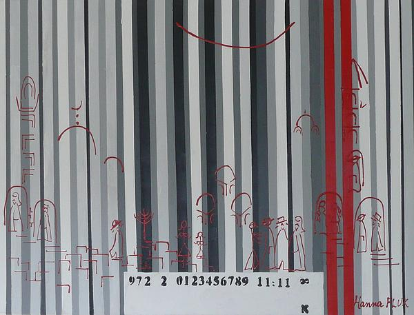 Jerusalem Black And Withe Barcode Print by Hanna Fluk