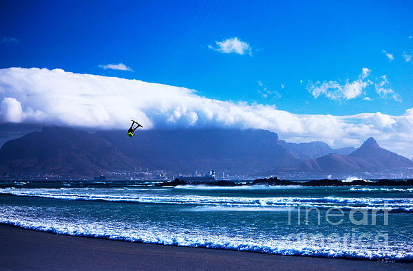 Jesse - Redbull King Of The Air Cape Town - Table Mountain Print by Charl Bruwer