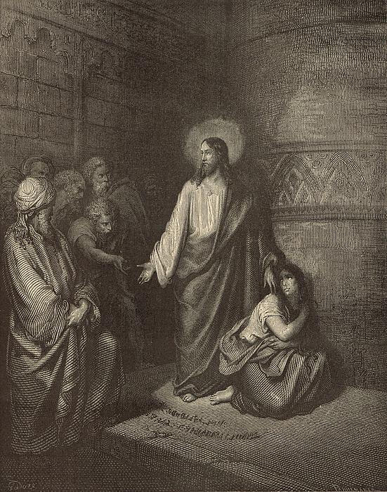 Jesus And The Woman Taken Into Adultery Print by Antique Engravings