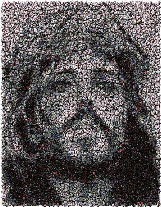 Jesus Bottle Cap Mosaic Print by Paul Van Scott