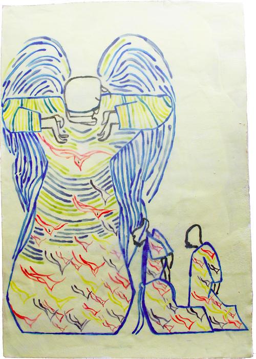 Jesus Guardian Angel Print by Gloria Ssali