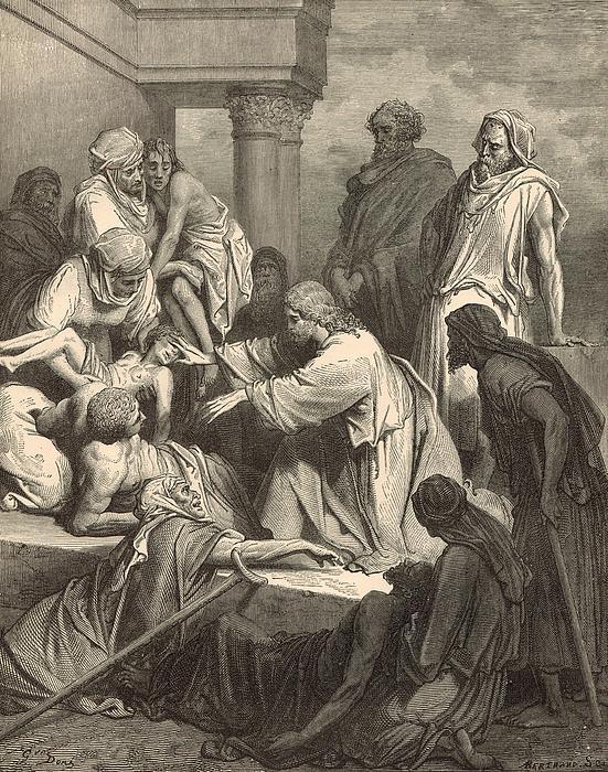 Jesus Healing The Sick Print by Antique Engravings