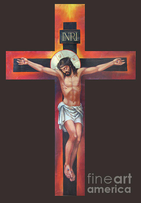 Jesus On The Cross Print by Zorina Baldescu