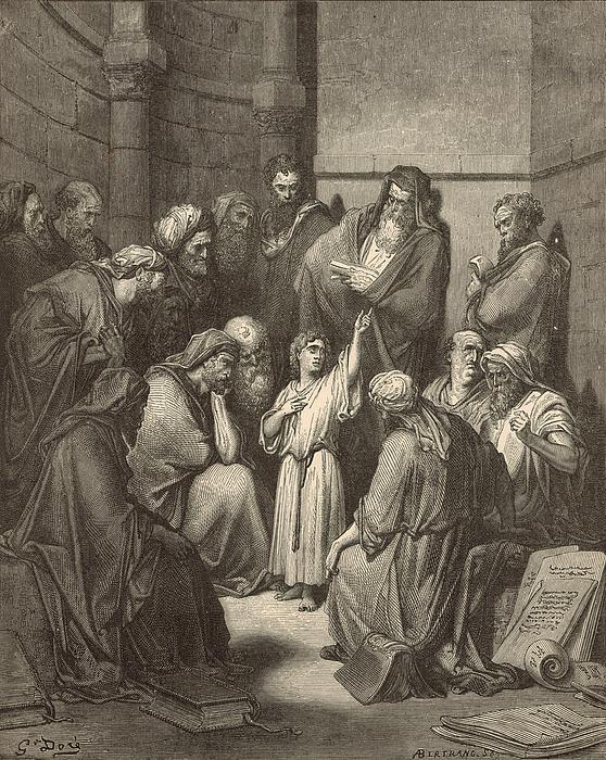 Jesus Questioning The Doctors Print by Antique Engravings