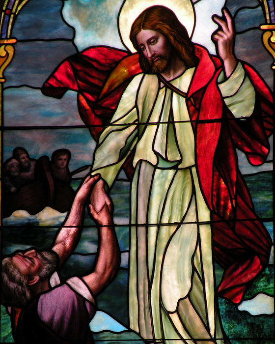 Jesus Rescues Peter From The Sea Print by Kim Bemis