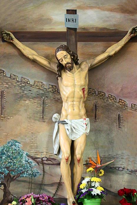 Jesus Statue At Latin Church In Taybeh Print by Munir Alawi
