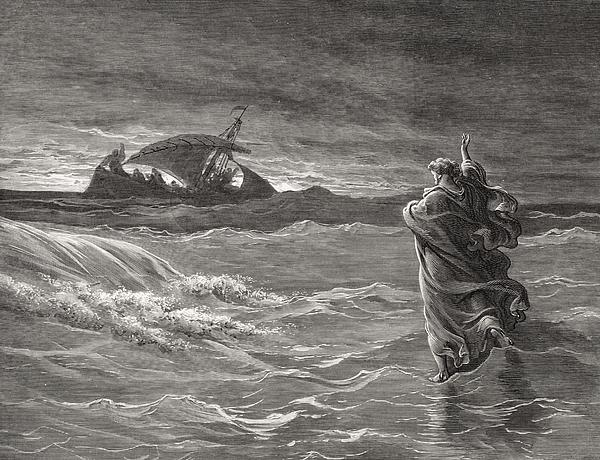 Jesus Walking On The Sea John 6 19 21 Print by Gustave Dore