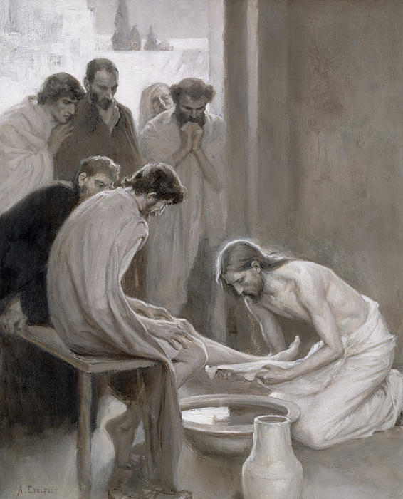 Jesus Washing The Feet Of His Disciples Print by Albert Gustaf Aristides Edelfelt