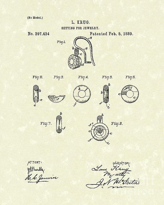 Jewelry Setting 1889 Patent Art Print by Prior Art Design