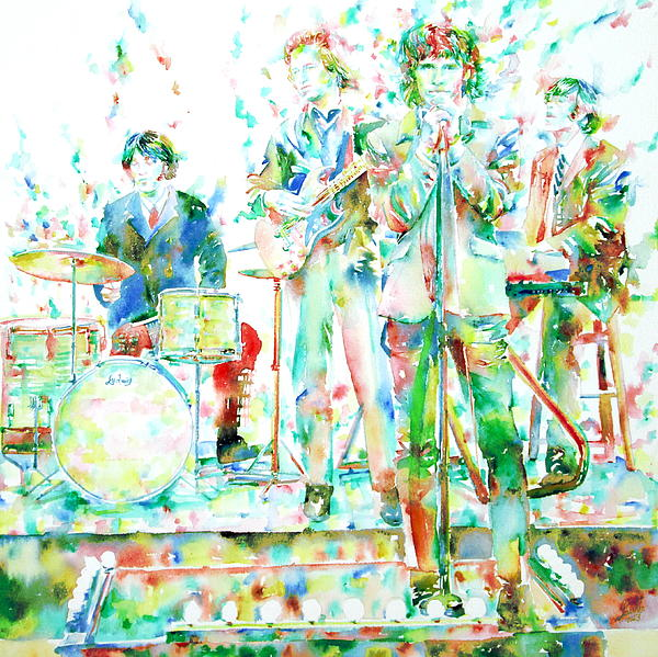 Jim Morrison And The Doors Live On Stage- Watercolor Portrait Print by Fabrizio Cassetta