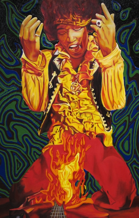 Jimi Hendrix Fire Print by Joshua Morton