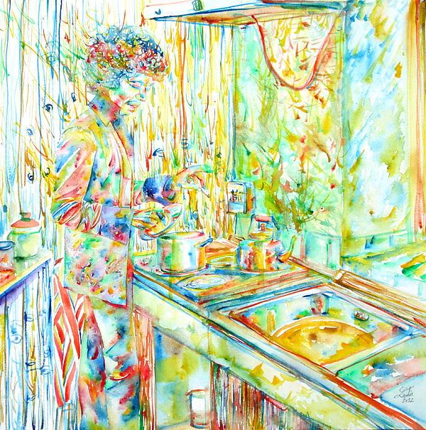 Jimi Hendrix In The Kitchen Watercolor Portrait Print by Fabrizio Cassetta